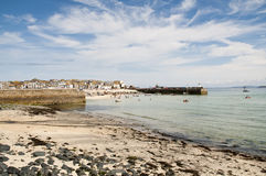 Port St. Ives, Cornwall, UK. Port Saint Ives in low tide, with blue sky Royalty Free Stock Images