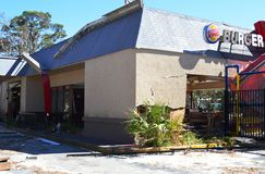 Burger King restaurant damaged by hurricane royalty free stock photos