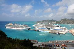 Port of St. Maarten, Cruise ships docked Royalty Free Stock Images