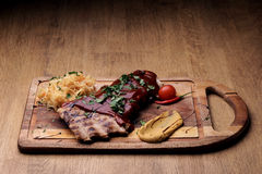 Port steak with red sauce Stock Photo