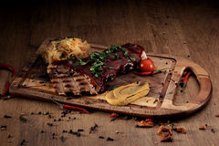 Port steak with red sauce Stock Photos