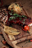 Port steak with red sauce Royalty Free Stock Photography
