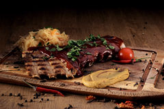 Port steak with red sauce Royalty Free Stock Images