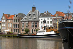 Port, steamer and historic buildings, Maassluis Stock Images
