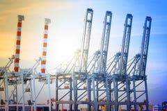 Port sträcker på halsen arbete i havsport, kran av frakter ansluter och att arbeta kranbron i skeppsvarv på skymning royaltyfri fotografi