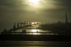 Port at sunrise Stock Photo