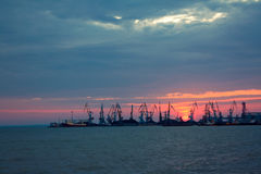 Port on sunset. Marine port at sunset of a sun Stock Photography