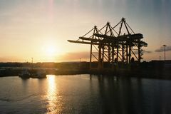 Port in sunset Royalty Free Stock Photos