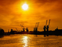 Port in sunset Royalty Free Stock Image