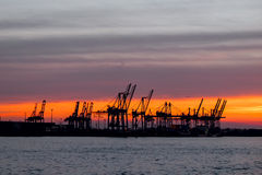 Port at sunset Royalty Free Stock Images