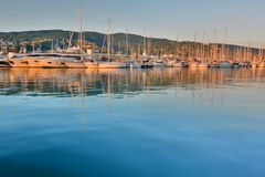 The port at sunset. Lavagna. Liguria. Italy Royalty Free Stock Image