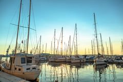 Port in the sunset Royalty Free Stock Photography
