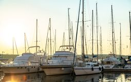 Port in the sunset Royalty Free Stock Photo
