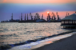 Port at sunset Stock Photography