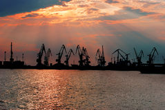 Port at sunset Stock Image