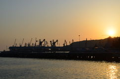 Port at sunset Royalty Free Stock Photo