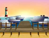 The port and the sunset view. Illustration of the port and the sunset view Stock Photo