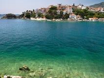 Port sur l'île grecque de Skiathos Photographie stock libre de droits