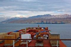 Port sur la côte rocheuse de la Mer Rouge Photos stock