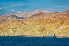 Port sur la côte rocheuse de la Mer Rouge Photo stock
