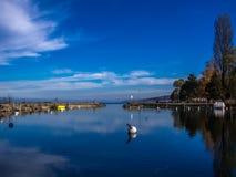 Port sur le lac de Yverdon Image libre de droits