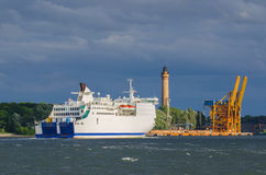 PORT OF SWINOUJSCIE. Passenger ferry entering the port of Swinoujscie Stock Images