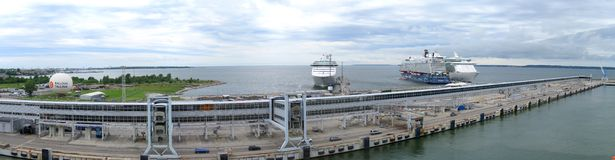 Port of Tallinn. Harbor of Port of Tallinn with cruise ships stock images