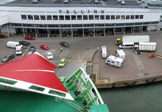 Port of Tallinn. Harbor of Port of Tallinn with vehicles waiting to board a ro-ro ferry stock photos