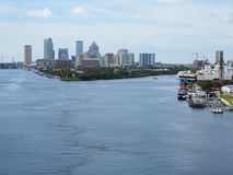 Port of Tampa, Florida, Tampa skyline in the distance Royalty Free Stock Photos