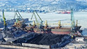 The port terminal for coal loading Royalty Free Stock Photography