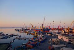 Port terminal at dawn Stock Image