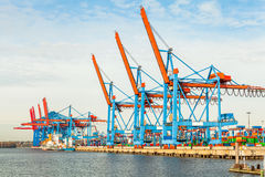 Port terminal for loading and offloading ships Royalty Free Stock Image
