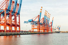 Port terminal for loading and offloading ships Stock Image