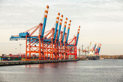 Port terminal for loading and offloading ships Royalty Free Stock Photography