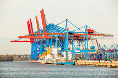 Port terminal for loading and offloading ships Royalty Free Stock Images