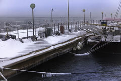 Port. There is the moorage of the port of Odessa. It was cold and snowing royalty free stock images