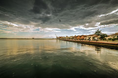 Port of Thessaloniki on Cloudy Rainy Day, Wide shot Stock Photography
