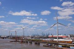 Port of Tilbury Wind turbines. Four 2.3MW turbines at Tilbury Docks, giving an installed capacity of 9.2 MW,  commissioned in 2013  and sited next to the Cruise Stock Images