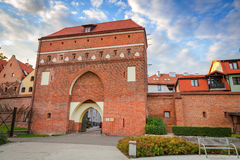 Port till den gamla staden av Torun Arkivfoton