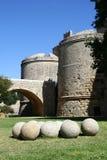 Port till den medeltida staden i Rhodes Royaltyfria Foton