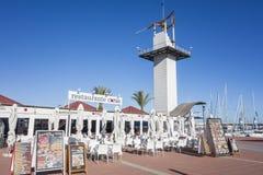Port tornrestaurangen i El Grao, maritimt område Castellon S arkivfoto