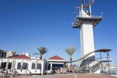 Port tornrestaurangen i El Grao, maritimt område Castellon S royaltyfria foton