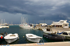 Port of town Bar in stormy weather, Montenegro Stock Photo
