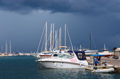 Port of town Bar in stormy weather in September, Montenegro Stock Image