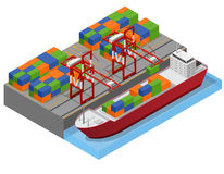 Port Town and Barge Ship Isometric View. Vector. Port Town and Barge Ship Isometric View Loading Color Freight Containers Concept Cargo Transportation . Vector Royalty Free Stock Images