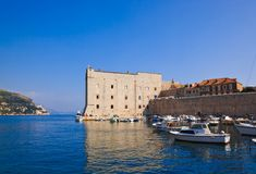 Port at town Dubrovnik in Croatia Stock Images