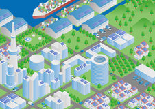 Port town and Logistics illustration Royalty Free Stock Photo