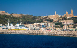Port at town Mgarr - Gozo, Malta. MGARR, MALTA - JULY 19: Port at town Mgarr in island Gozo on July 19, 2015 in Gozo Stock Image