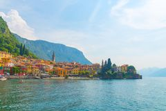 Varenna on Lake Como italy. Port town of Varenna on lake como italy Royalty Free Stock Photography