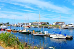 Port Townsend, WA. Downtown marina with boats and historical bui Royalty Free Stock Images